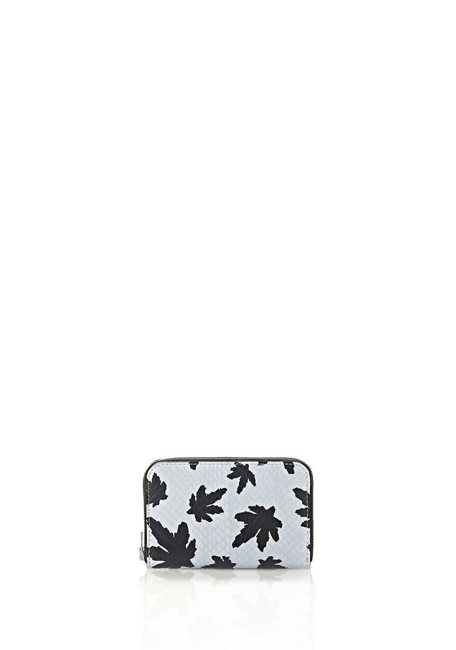 ALEXANDER WANG accessories MINI COMPACT WALLET IN PALE BLUE LEAF PRINTED ELAPHE