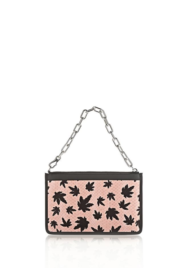 ALEXANDER WANG accessories ATTICA CHAIN FLAT POUCH IN CAMEO PINK WITH LEAF PRINT