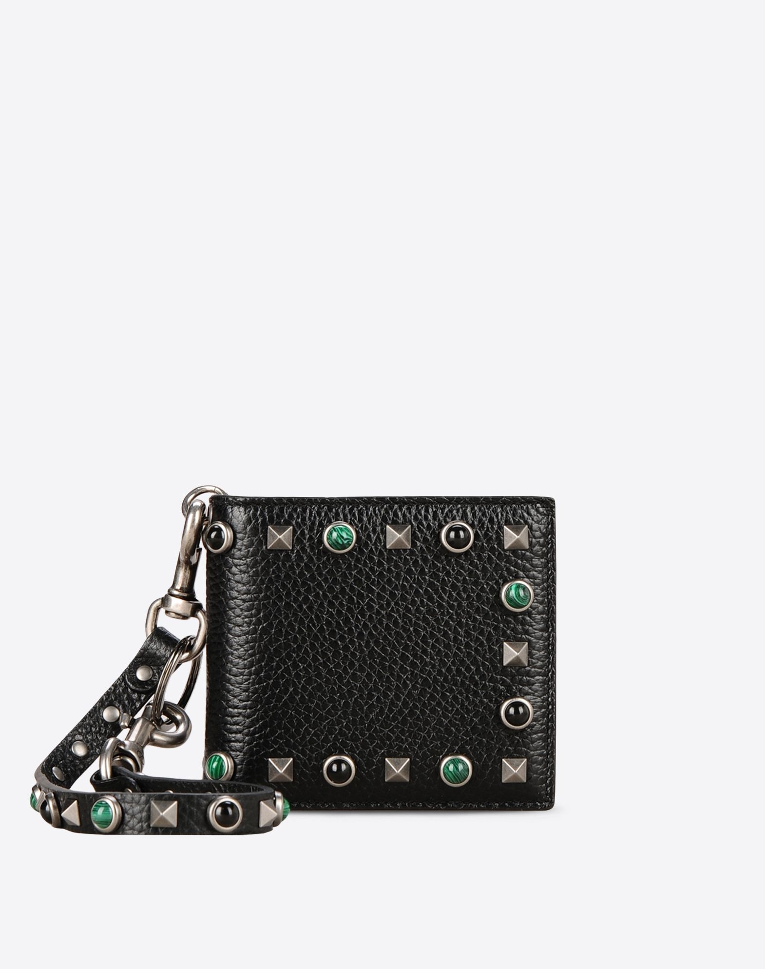 VALENTINO Textured leather Logo Detachable application Studs Internal card slots  46477011vo