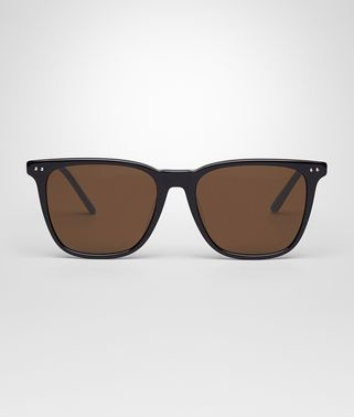 SUNGLASSES IN SHINY BLACK ACETATE, SOLID BROWN LENS