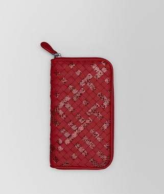 ZIP AROUND WALLET IN CHINA RED INTRECCIATO NAPPA AND AYERS