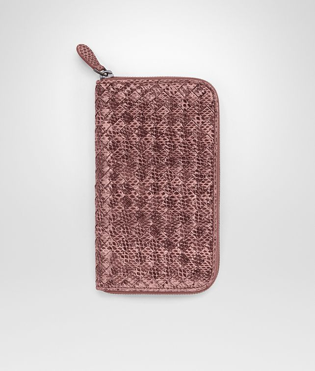 BOTTEGA VENETA ZIP AROUND WALLET IN DUSTY ROSE INTRECCIATO AYERS Zip Around Wallet D fp