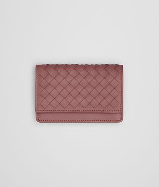 CARD CASE IN DUSTY ROSE INTRECCIATO NAPPA