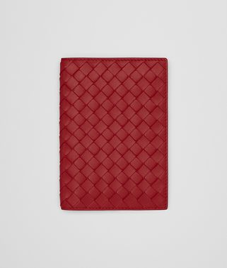 PASSPORT CASE IN CHINA RED INTRECCIATO NAPPA