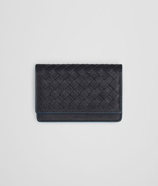 CARD CASE IN DARK NAVY PEACOCK CALF INTRECCIATO