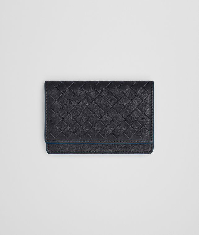 BOTTEGA VENETA CARD CASE IN DARK NAVY PEACOCK CALF INTRECCIATO Card Case or Coin Purse E fp
