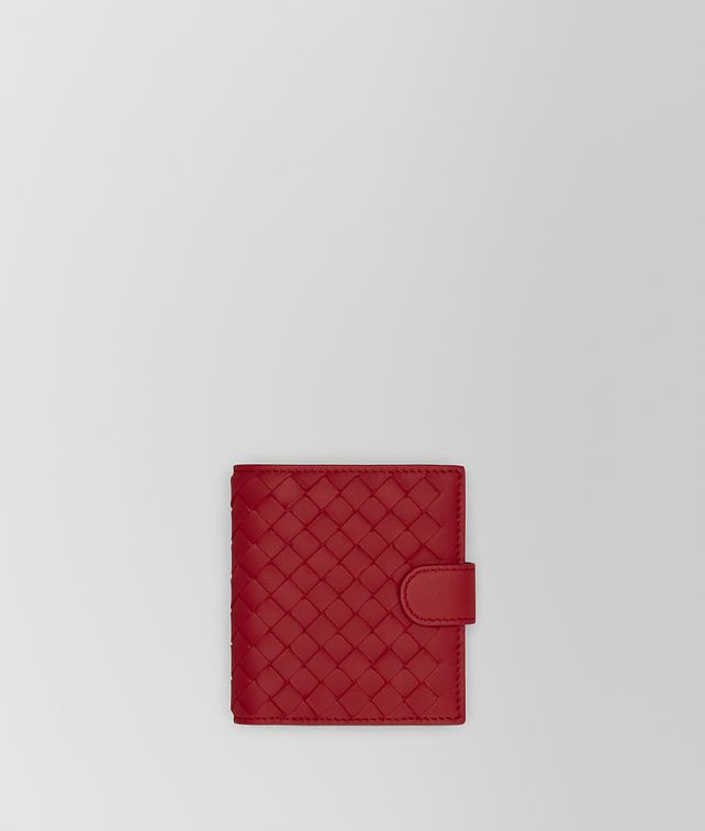 BOTTEGA VENETA MINI WALLET IN CHINA RED INTRECCIATO NAPPA Mini Wallet Woman fp