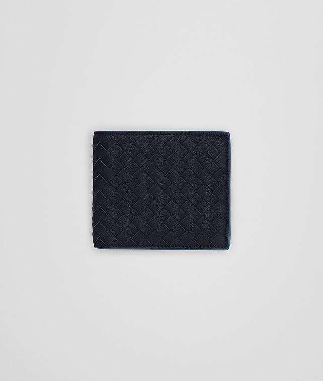 BOTTEGA VENETA BI-FOLD WALLET WITH COIN PURSE IN NEW DARK NAVY PEACOCK INTRECCIATO CALF Bi-fold Wallet U fp