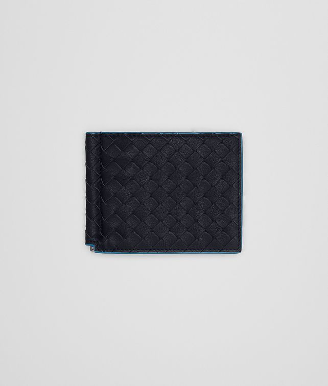 BOTTEGA VENETA BI-FOLD WALLET WITH MONEY CLIP IN NEW DARK NAVY PEACOCK INTRECCIATO CALF Bi-fold Wallet Man fp