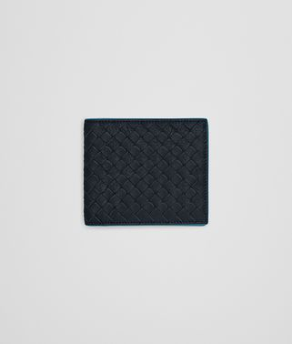 BI-FOLD WALLET IN NEW DARK NAVY PEACOCK INTRECCIATO CALF