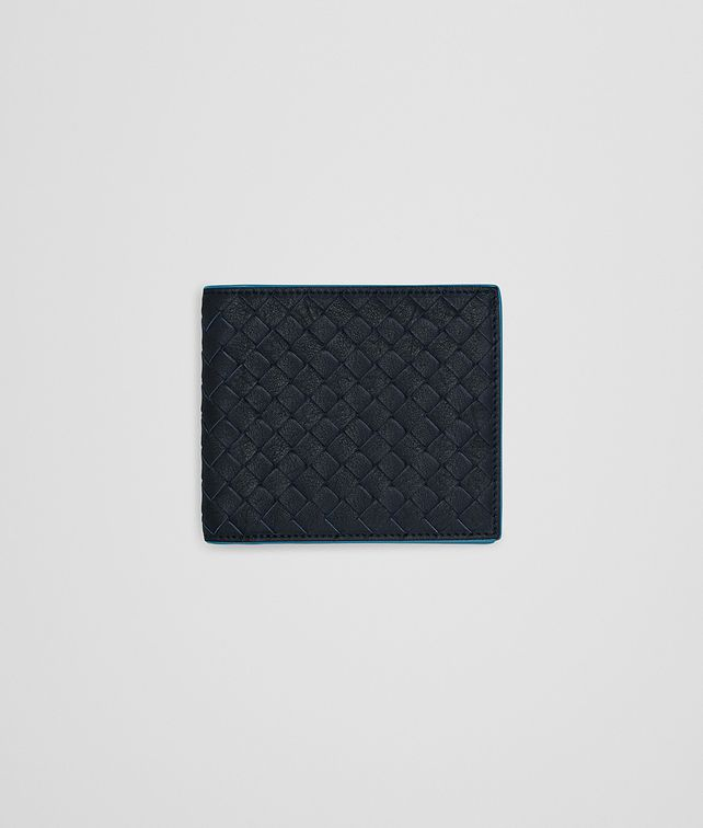BOTTEGA VENETA BI-FOLD WALLET IN NEW DARK NAVY PEACOCK INTRECCIATO CALF Bi-fold Wallet Man fp