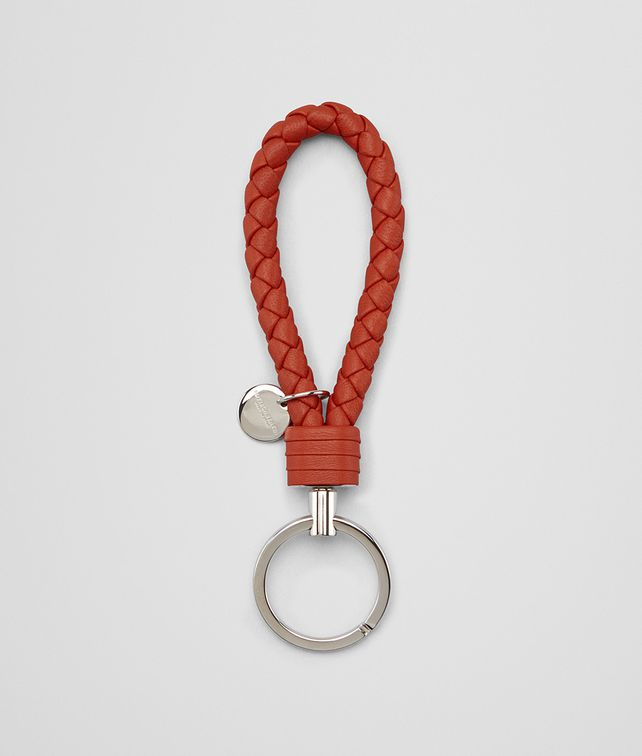 BOTTEGA VENETA KEY RING IN GERANIUM INTRECCIATO NAPPA Keyring or Bracelets E fp