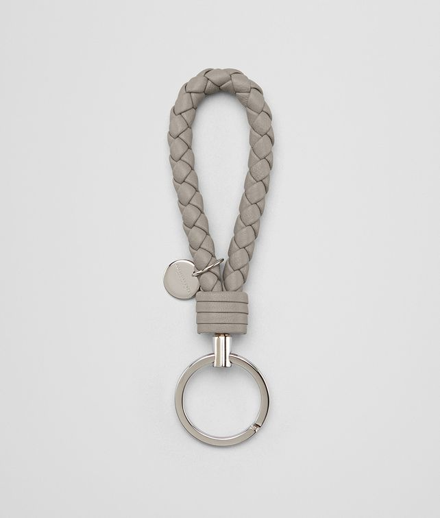 BOTTEGA VENETA KEY RING IN FUME' INTRECCIATO NAPPA Keyring or Bracelets E fp