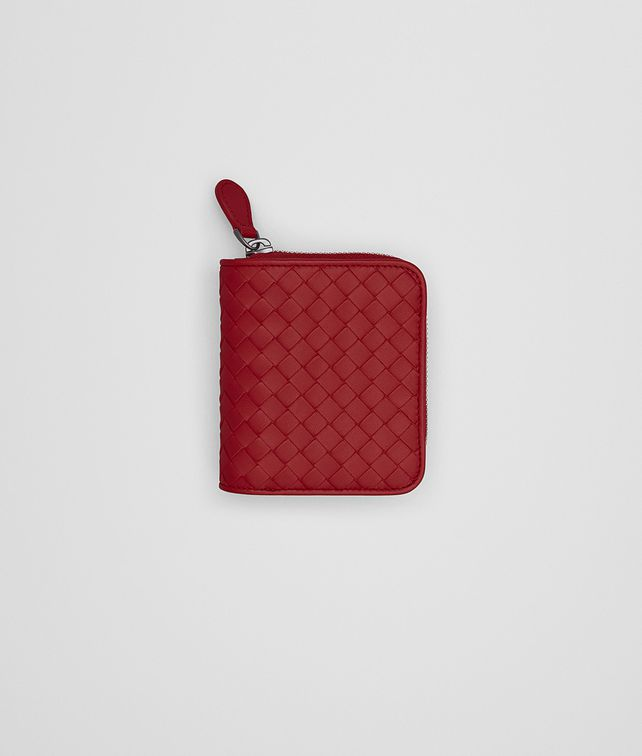 BOTTEGA VENETA MINI WALLET IN CHINA RED INTRECCIATO NAPPA Mini Wallet or Coin Purse D fp