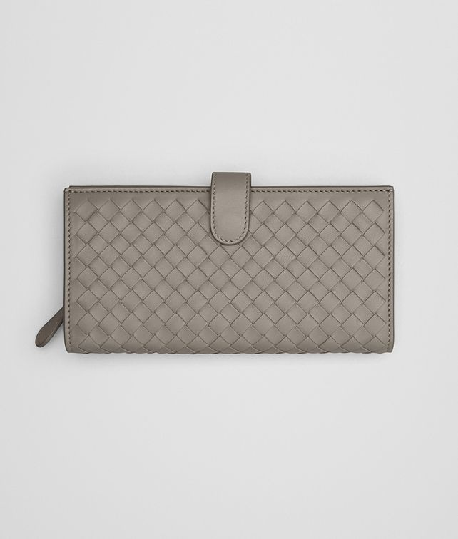 BOTTEGA VENETA CONTINENTAL WALLET IN FUME' INTRECCIATO NAPPA Continental Wallet Woman fp