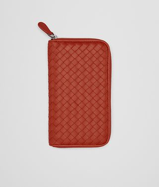 ZIP AROUND WALLET IN GERANIUM INTRECCIATO NAPPA