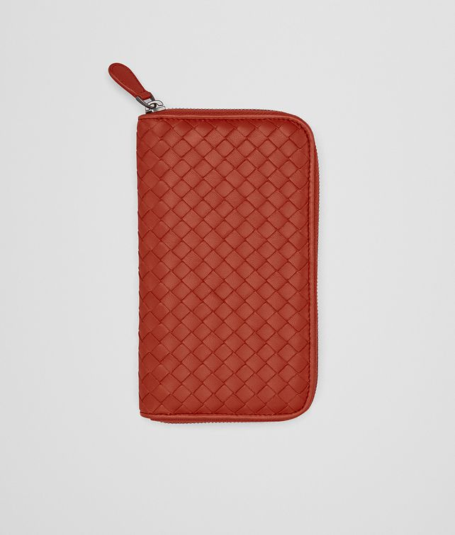 BOTTEGA VENETA ZIP AROUND WALLET IN GERANIUM INTRECCIATO NAPPA Zip Around Wallet Woman fp
