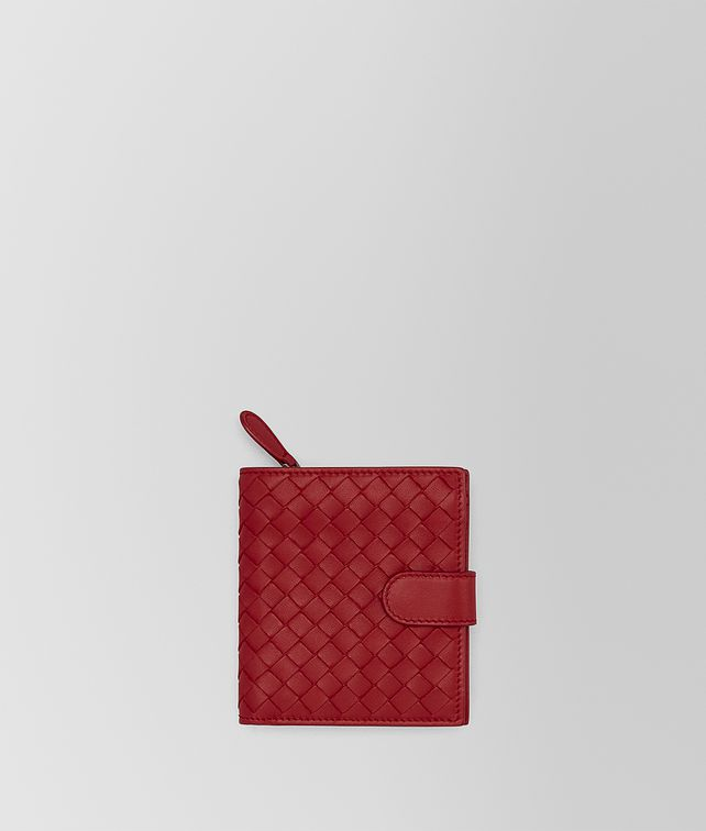 BOTTEGA VENETA MINI WALLET IN CHINA RED INTRECCIATO NAPPA Mini Wallet or Coin Purse Woman fp