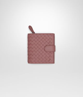 PORTEFEUILLE MINI FORMAT EN INTRECCIATO NAPPA DUSTY ROSE