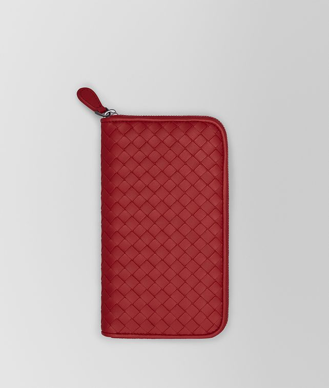 BOTTEGA VENETA ZIP AROUND WALLET IN CHINA RED INTRECCIATO NAPPA Large Wallet Woman fp