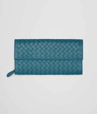 深蓝色编织小羊皮长款钱包