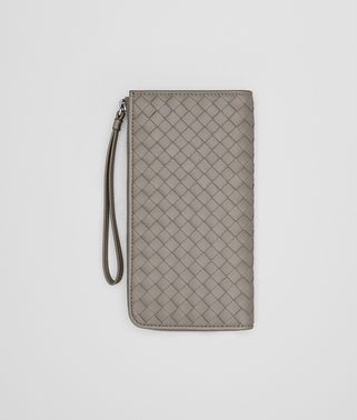 ZIP AROUND WALLET IN FUME' INTRECCIATO NAPPA