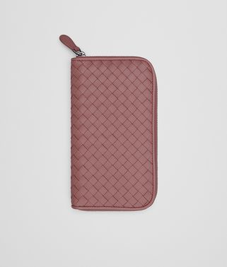 ZIP AROUND WALLET IN DUSTY ROSE INTRECCIATO NAPPA