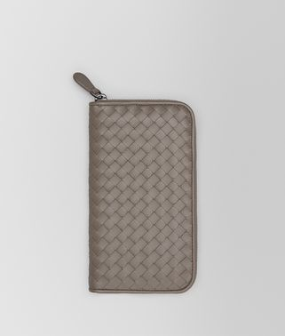 ZIP AROUND WALLET IN STEEL INTRECCIATO NAPPA