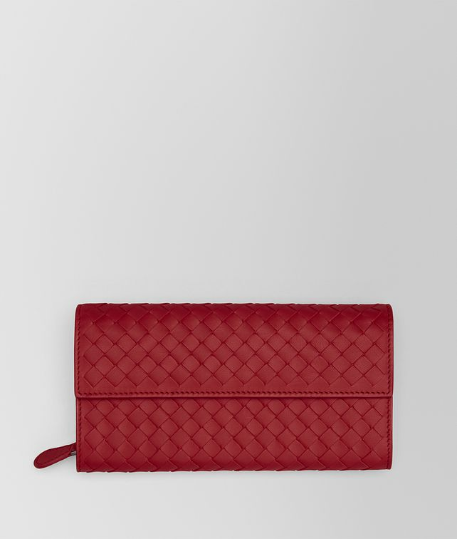BOTTEGA VENETA CONTINENTAL WALLET IN CHINA RED INTRECCIATO NAPPA Continental Wallet Woman fp