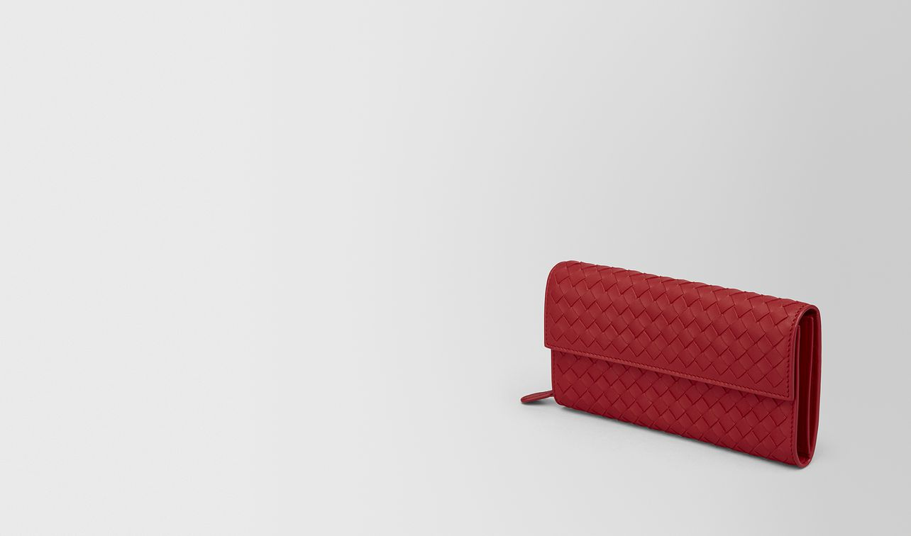 continental wallet in china red intrecciato nappa landing