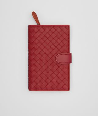 CONTINENTAL WALLET IN CHINA RED GERANIUM INTRECCIATO NAPPA