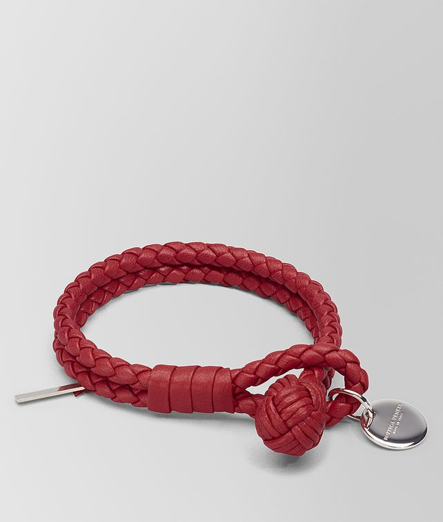 bottega intrecciato on leather bracelet eye veneta and clasp hook silver