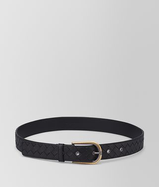 BELT IN NERO ANTIQUE GOLD INTRECCIATO NAPPA