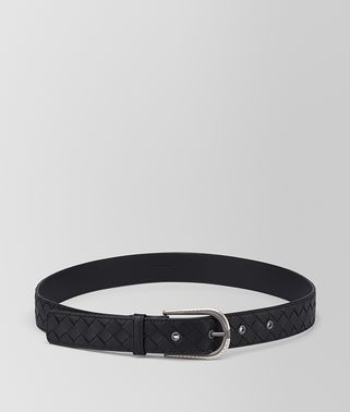 BELT IN NERO ANTIQUE SILVER INTRECCIATO NAPPA