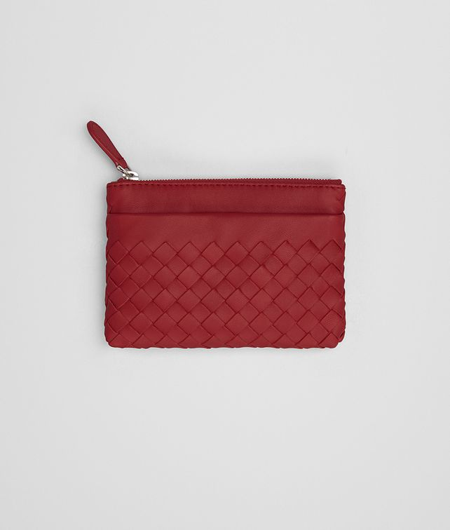 BOTTEGA VENETA KEY CASE IN CHINA RED INTRECCIATO NAPPA Mini Wallets E fp