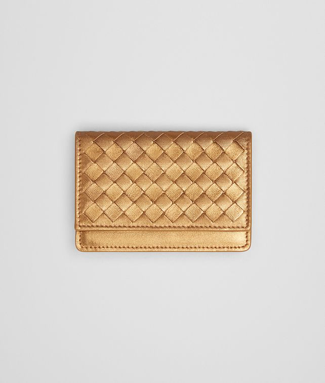 BOTTEGA VENETA CARD CASE IN HELIOS INTRECCIATO GROSGRAIN Card Case or Coin Purse E fp