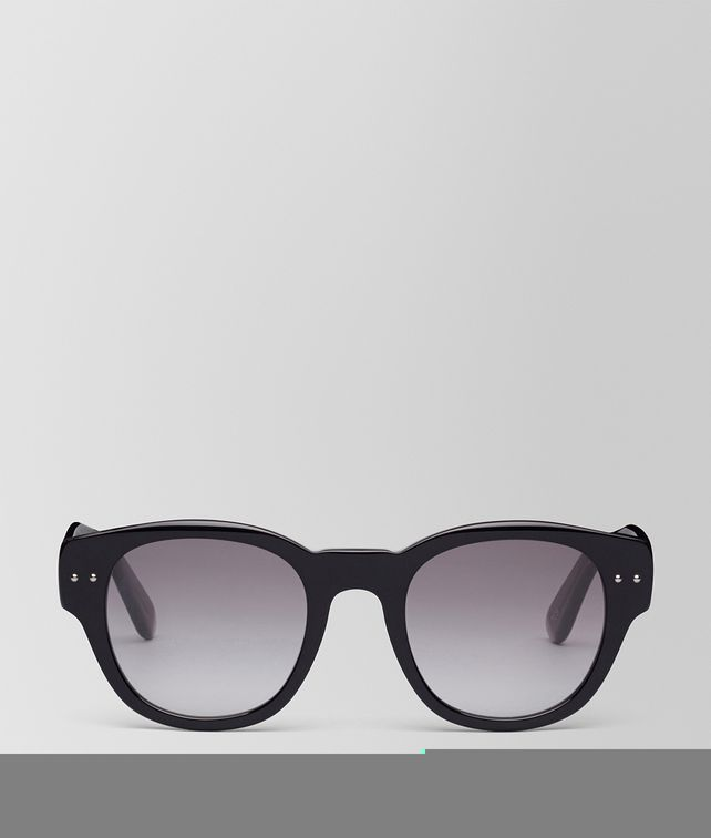 BOTTEGA VENETA SUNGLASSES IN SHINY BLACK ACETATE, GRADIENT GREY LENS Sunglasses E fp