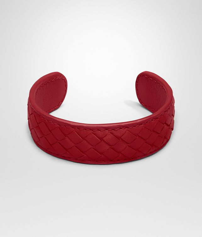 BOTTEGA VENETA BRACELET IN CHINA RED MICROINTRECCIATO NAPPA Keyring or Bracelets Woman fp