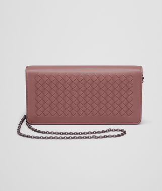 PORTEFEUILLE CONTINENTAL EN INTRECCIATO NAPPA DUSTY ROSE