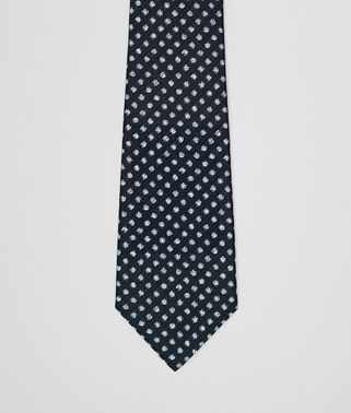 TIE IN NAVY BEIGE SILK
