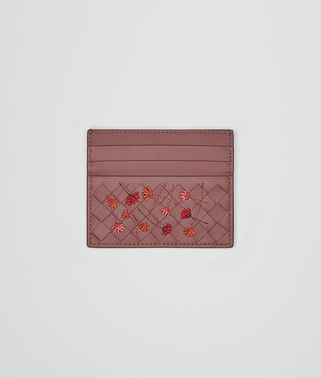 CARD CASE IN DUSTY ROSE EMBROIDERED NAPPA