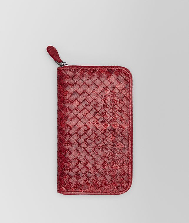 BOTTEGA VENETA ZIP AROUND WALLET IN CHINA RED INTRECCIATO AYERS Zip Around Wallet Woman fp
