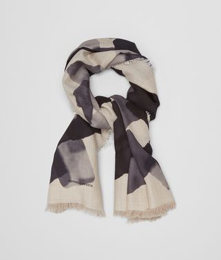 SCARF IN CAMEL MEDIUM GREY CASHMERE SILK