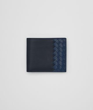 BI-FOLD WALLET IN NEW DARK NAVY PACIFIC CALF LEATHER, INTRECCIATO DETAILS