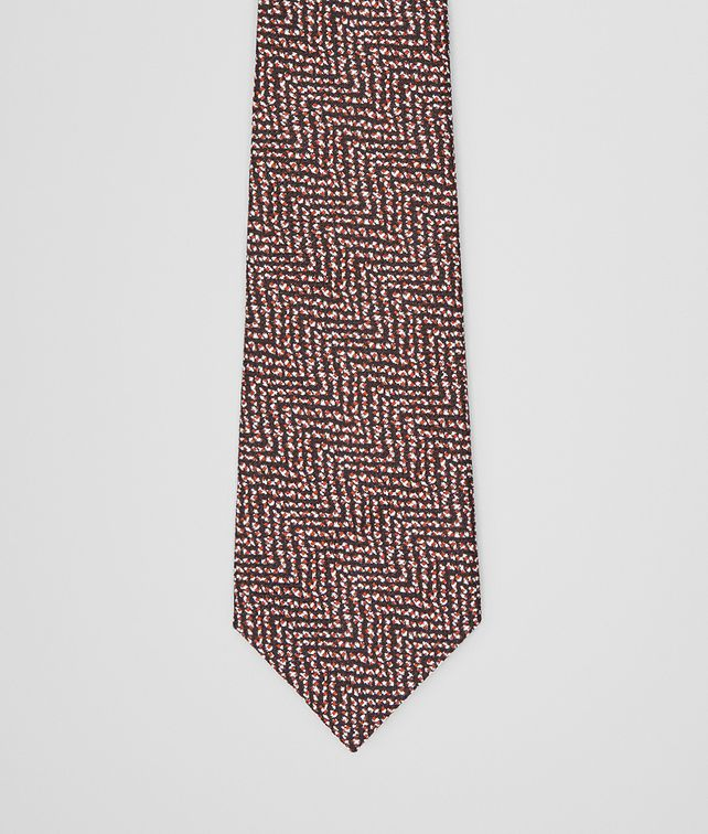 BOTTEGA VENETA TIE IN BLACK ORANGE SILK Tie U fp