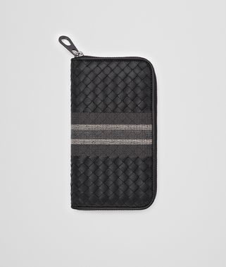 ZIP-AROUND WALLET IN NERO INTRECCIATO NAPPA, EMBROIDERED DETAILS
