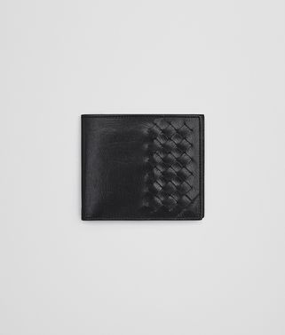 BI-FOLD WALLET IN NERO CALF LEATHER, INTRECCIATO DETAILS