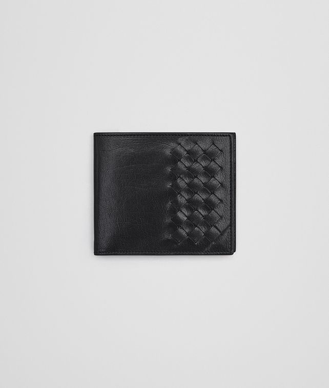 BOTTEGA VENETA BI-FOLD WALLET IN NERO CALF LEATHER, INTRECCIATO DETAILS Bi-fold Wallet U fp