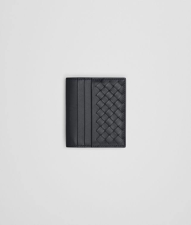 BOTTEGA VENETA SMALL BI-FOLD WALLET IN NERO INTRECCIATO VN Bi-fold Wallet Man fp