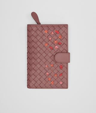 CONTINENTAL WALLET IN DUSTY ROSE EMBROIDERED NAPPA